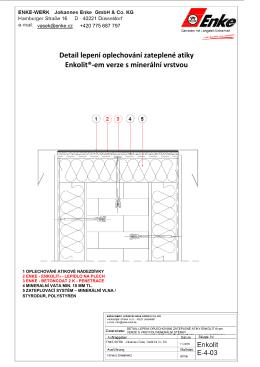 Detail lepení oplechování zateplené atiky Enkolit®-em verze