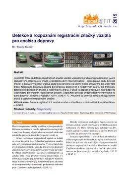 Detekce a rozpoznání registracní znacky vozidla - Brno