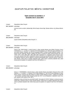 Usnesení Zastupitelstva města Chropyně ze dne
