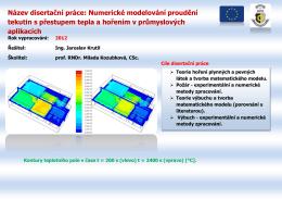 Název disertační práce: Numerické modelování proudění tekutin s