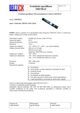 Technická specifikace THS7BAT
