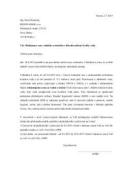 Text reklamačního dopisu odběratele provozovateli, který odesílají