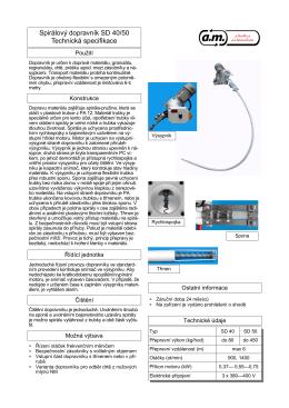 Spirálový dopravník SD 40/50 Technická specifikace
