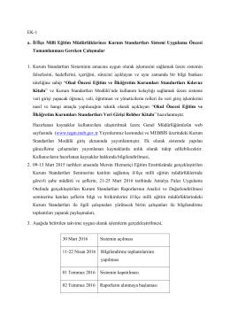 Kurum Standartları Açıklamaları - Kars İl Milli Eğitim Müdürlüğü
