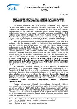 Tıbbi Malzeme Listeleri Tıbbi Malzeme Alan Tanımlarına