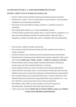Bildiri Hazırlama Kılavuzu - 38. Pediatri Günleri, 17. Pediatri