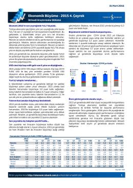 Ekonomik Büyüme - 2015 4. Çeyrek