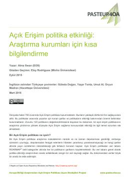Açık Erişim politika etkinliği: Araştırma kurumları