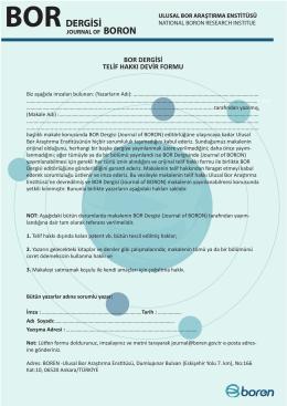 bor dergisi telif hakkı devir formu - Journal of Boron