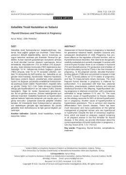 Gebelikte Tiroid Hastalıkları ve Tedavisi