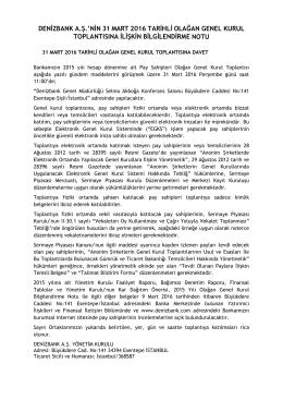 denizbank a.ş.`nin 31 mart 2016 tarihli olağan genel kurul
