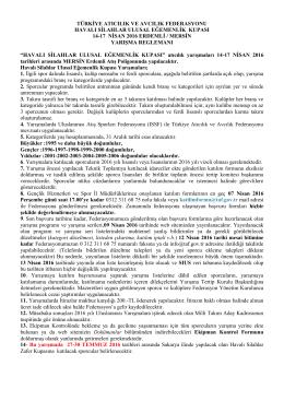 türkiye atıcılık ve avcılık federasyonu havalı silahlar ulusal