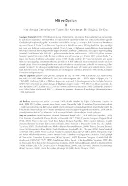 Mit ve Destan II Hint-Avrupa Destanlarının Tipleri