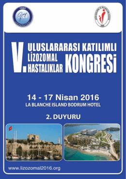 2. Duyuru - v. uluslararası katılımlı lizozomal hastalıklar kongresi
