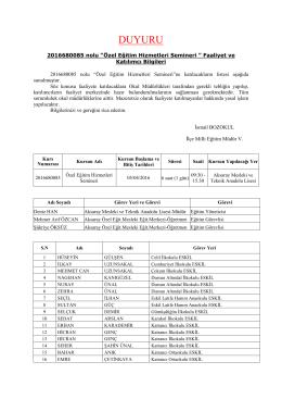 2016680085 nolu Özel Eğitim Hizmetleri Semineri Katılımcı Listesi