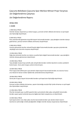 Jüri Değerlendirme Raporu 2. ve 3. Eleme