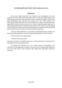 Sayfa 1 / 19 ERP ÜZERİNDEN BİRİM AMİRİ VEKÂLET YETKİSİ