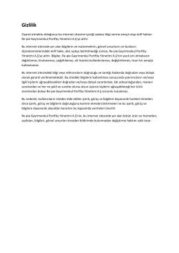Gizlilik - Re-pie Gayrimenkul Portföy Yönetimi