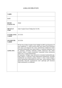 AÇIKLAYICI BİLGİ NOTU TARİH SAYI RESMİ GAZETE NO 29668