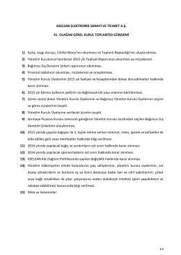 31 Mart 2016 Aselsan Genel Kurul Toplantısı