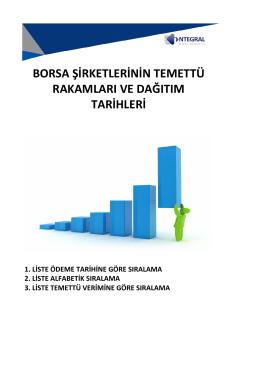 borsa şirketlerinin temettü rakamları ve dağıtım