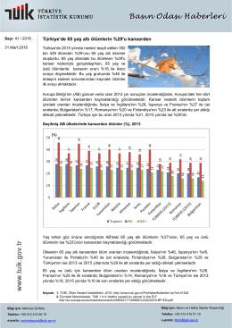 Türkiye`de 65 yaş altı ölümlerin %29`u kanserden