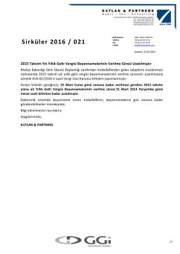 Sirküler 2016 / 021 - kutlan & partners