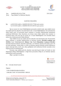 Gökhan KANAL Genel Müdür V. DAĞITIM YERLERİNE İlgi : a) 04.02