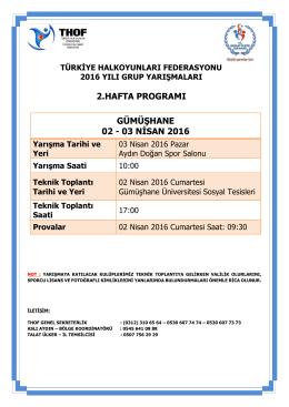gümüşhane grup yarışması programı 02 – 03 nisan 2016
