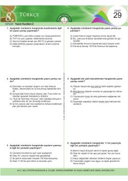 türkçe - Ölçme, Değerlendirme ve Sınav Hizmetleri Genel Müdürlüğü