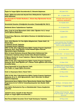 çalışma takvimi (2015-2016 eğitim öğretim yılı ıı.dönem)