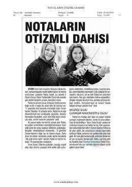 NOTALARIN OTIZMLI DAHISI www.medyatakip.com