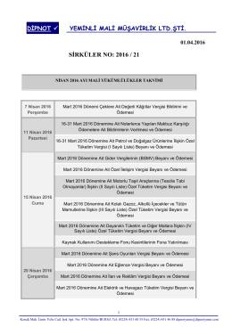 sırk 2016-21 nisan 2016 mali yükümlülük takvimi hk.