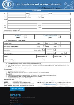 kayıt formu - İleri Cerrahi Artroskopi Kursu 2016