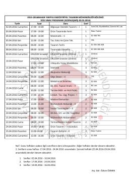 KESİNLEŞMİŞ 30.03.2016 - Endüstriyel Tasarım Mühendisliği Bölümü