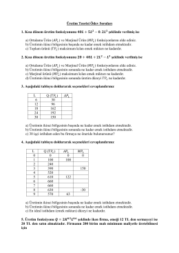 Üretim Teorisi Ödev Soruları 1. Kısa dönem üretim fonksiyonunu