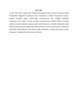 """DUYURU 23 Mart 2016 tarih ve 29662 sayılı """"Elektrik Piyasasında"""