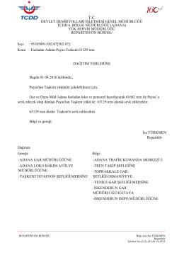 01.04.2016 - Devlet Demir Yollari 6.Bölge