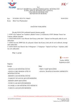 04.04.2016 - Devlet Demir Yollari 6.Bölge