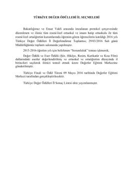 Türkiye Değer Ödülleri Konya İl Sonuçları 01.04.2016 09:25