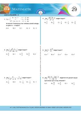 Limit ve Süreklilik - 2 - Ölçme, Değerlendirme ve Sınav Hizmetleri