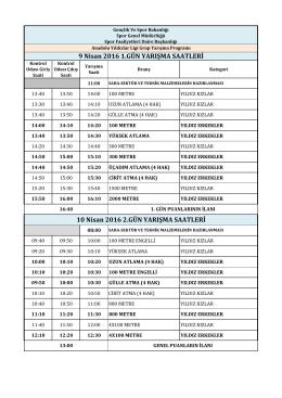 2016 analig yarı final yarışma programı
