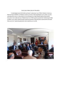30.03.2016 TARİHLİ ŞEFLER TOPLANTISI İl