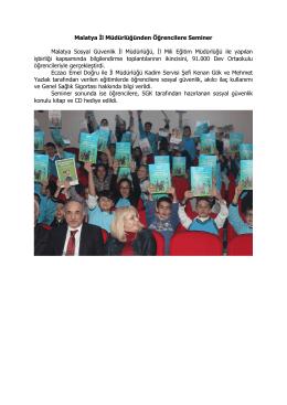 Malatya İl Müdürlüğünden Öğrencilere Seminer