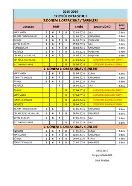 2015-2016 12 EYLÜL ORTAOKULU 2.DÖNEM 1.ORTAK SINAV