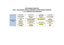 Üniversite Ortak Seçimlik Dersler 2016-Bahar