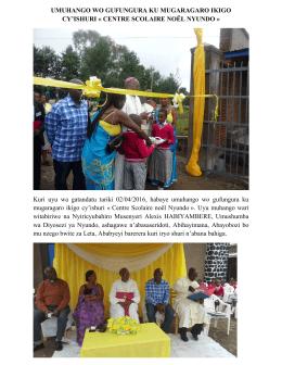 UMUHANGO WO GUFUNGURA KU MUGARAGARO IKIGO CY