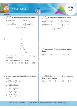 İntegral - 1 - Ölçme, Değerlendirme ve Sınav Hizmetleri Genel