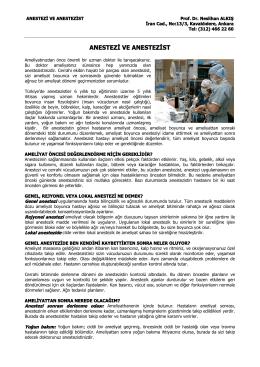 anestezi ve anestezist - Prof. Dr. İrfan Yorulmaz