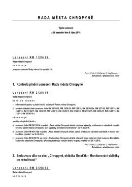 Výpis usnesení z jednání č. 28 ze dne 8. října 2015